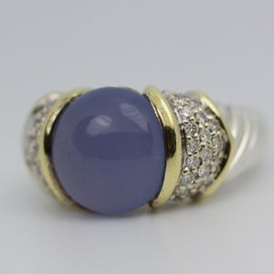 18k & SS David Yurman Diamond And Chaalcedony Ring
